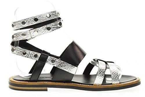SILVER amp; AKIN JANET JANET BLACK 39005 Argent femme sandale plate Noir BAMAKO 7x6wgq