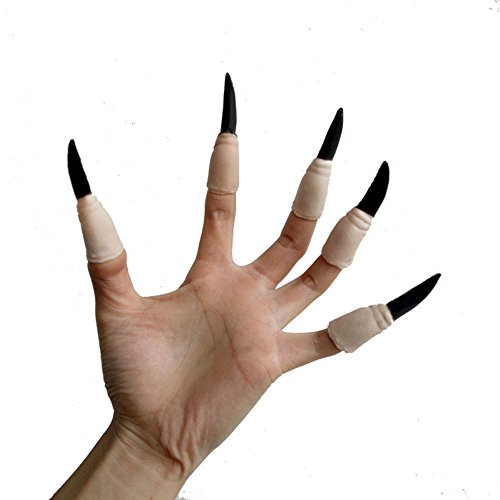 Zombie Fake Finger Nails (SUPOW Halloween Zombie Witch False Nail, 10Pcs Cosplay Fake Finger Claws Ghost Monster Hand Finger Nail Set for Halloween Costume)