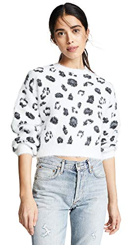 Metallic Nylon Sweater (cupcakes and cashmere Women's Huxley Metallic Leopard Sweater, Ivory, Small)