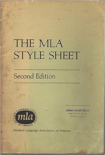the mla style sheet modern language association of america