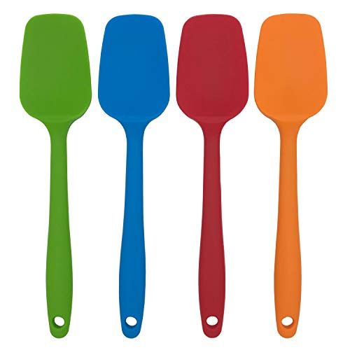 Docik 4-Piece Silicone Spoon Spatula, Seamless Design, Flexible Heat-Resistant Non-Stick Silicone Rubber with Premium Stainless Steel Core, - With Premium Silicone Whisk Heat