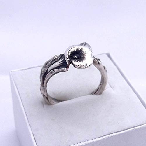 Spoon Ring Calla Lily Made of Reed & Barton Harlequin Floral Spoons, Sterling Silver Calla Ring ()