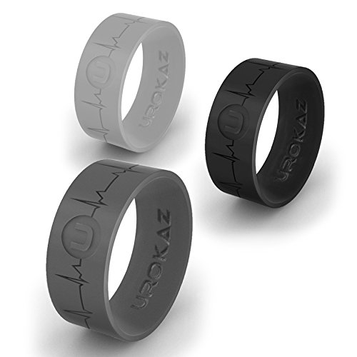 Silicone Wedding Ring for Women and Men - Men's Rubber Wedding Ring - Thin Woman Silicone Wedding Band - Male and Female Band colors include black
