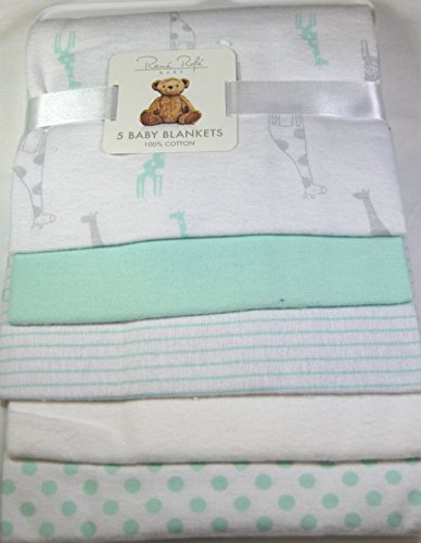 Rene Rolfe 5 Pk.Soft Flannel Baby Receiving Blankets by Bon Bebe 100% ()