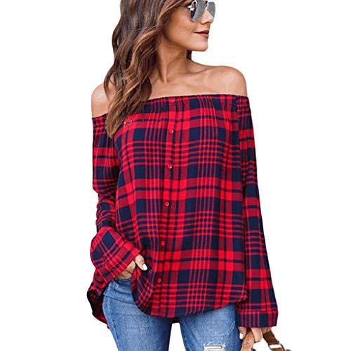 Shoulder Longues Loisir Off Haut Classique Carmen Fashion Chic Large Manches Printemps Carreaux Femme Rouge Et Shirt Blouse Long Elgante Costume Tendance Longue afwROTqq