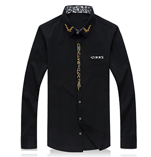 Hzcx Fashion men's long sleeve solid embroidered casual button down shirts QT3005-1013-60-black-US M(38)TAG XL