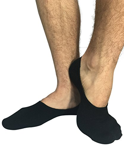 STOMPERJOE 3 and 6 Mens Cotton No Show Casual Liner Loafer Socks Invisible Stay On (Large, Black)