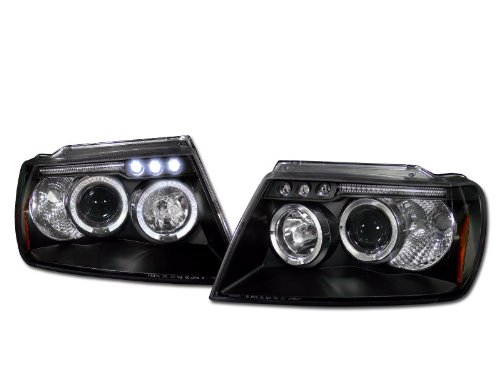 BLK DAYTIME LED HALO RIM PROJECTOR HEAD LIGHTS PARKING 99-04 JEEP GRAND CHEROKEE