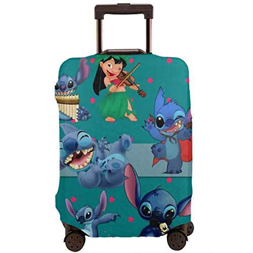 Anime Stitch Lilo Travel Luggage Cover Suitcase Protector Washable Baggage Luggage Covers Zipper Fits 29-32 Inch