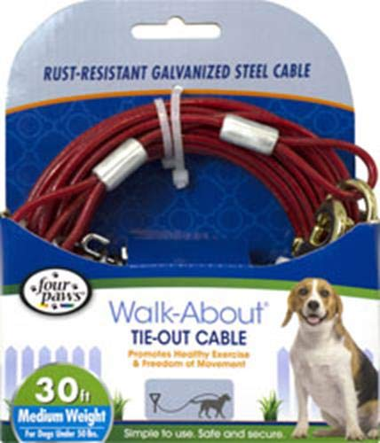 - Four Paws Red 30 Foot Medium Weight Dog Tie Out Cable