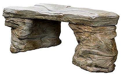 Cast Stone Petrified Rock Bench, U0026quot;Outdoor Garden Patio Benchu0026quot; 3  Piece Hand