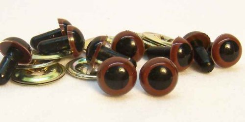 Sassy Bears 12mm Chestnut Brown Safety Eyes for Bear, Doll, Puppet, Plush Animal and Craft - 10 Pairs