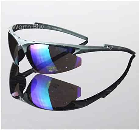 49301d7456 Mens Sports Wrap Around Sunglasses Cycling Driving Mirrored Eyewear Glasses