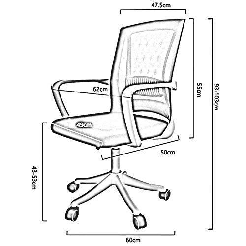 DBL Lumbalstöd främjar modern ergonomisk stol rörelse flexibilitet justerbar design utseende konferensbord stolar (färg: Grå, storlek: Svart ram)