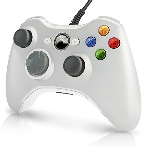 Xbox 360 Wired Controller Gamechoices A03 PC controller USB Wired Gamepad For Xbox 360 Console Windows PC Laptop Computer-White