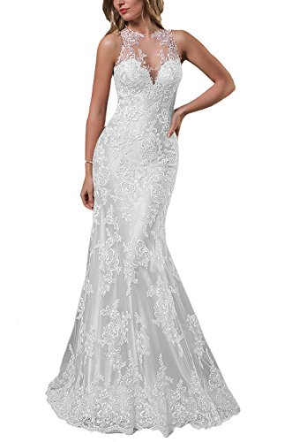 Sogala Women's Lace Appliques Mermaid Wedding Dresses For Bride Sexy Bridal Gowns by Sogala