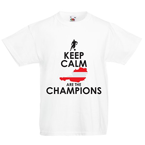 Kids Boys/Girls T-Shirt Keep Calm The Austria National Football Team is The Champion (3-4 Years White Multi Color)