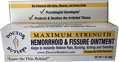 Doctor Butler's Hemorrhoid & Fissure Ointment...FDA Approved Relief & Healing Formula (also contains Organic Herbs, Minerals and Amino Acids) (Best Over The Counter Steroid Cream)