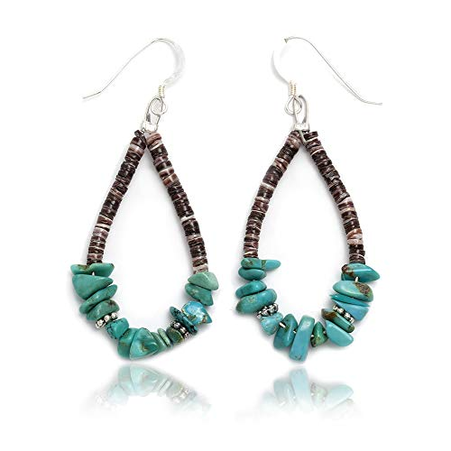 $80 Tag Silver Hooks Certified Authentic Navajo Native American Natural Turquoise Hoop Dangle Earrings (Turquoise Native Earrings)