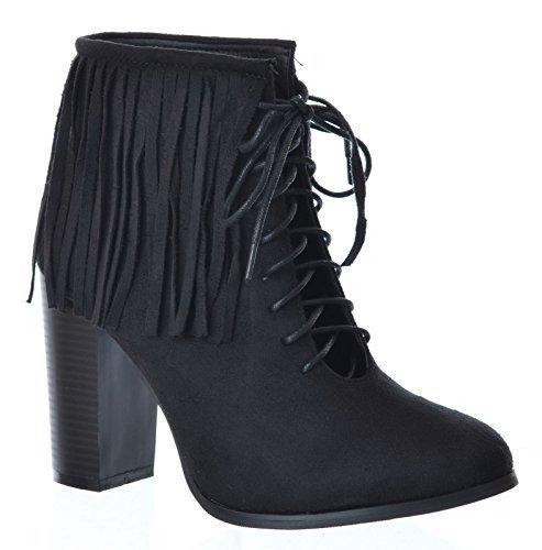 Franges Suède Taille Haut De Coupé Bloc Chaussures Dames Faux Milieu Des Talon Femmes 3 Noir Dentelle Bottines 8 aXww1qgfx