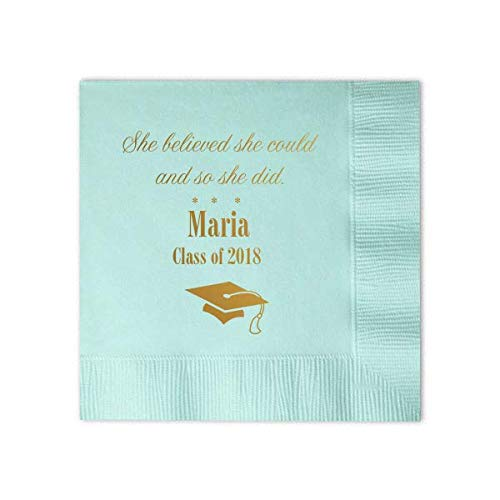 Graduation Napkins w/name -Luncheon Dinner Drink Napkin Guest