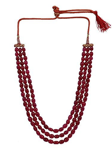 Gemstone Handmade Indian Jewelry - Efulgenz Indian Multi Layered Bollywood Pink Faux Ruby Beads Wedding Bridal Necklace Jewelry for Women, Red