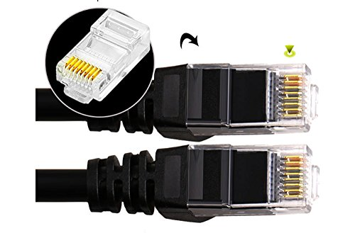 Cat5e Ethernet Cable 50Feet, Ethernet Patch Cable with Snagless Rj45 Connectors 50ft - Black