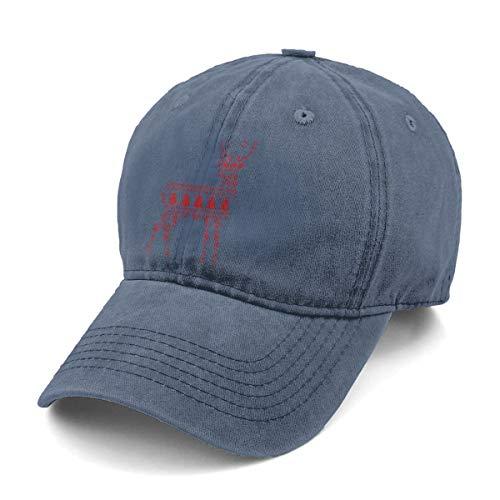 (KELLYMOLL Scandinavian Winter Deer New Men and Women Adult Comfort Adjustable Denim Hat Truck Baseball)