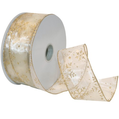 Sheer Wired Edge Ribbon - Morex Ribbon Snowflake Wired Sheer Glitter Ribbon, 2-1/2-Inch by 50-Yard Spool, Ivory/Gold