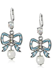 Betsey Johnson Anchors Away Striped Bow and Faux Pearl Drop Earrings