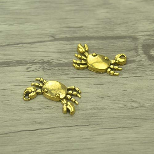 SMALL-CHIPINC - 15pcs/lot Fashion Antique gold Alloy crab Charms Fit Pendants & Necklace Jewelry Findings DIY Handcraft 24x14mm 4231C