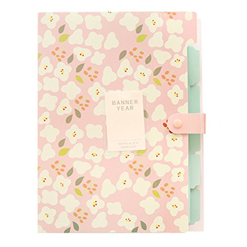 Floral Covered Box (Skydue Floral Printed Accordion Document File Folder Expanding Letter Organizer (Pink))