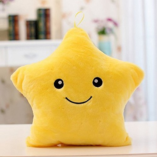 (Missley Creative Star Pillow Glowing LED Night Light Star Shape Plush Pillow Stuffed Toys (Yellow))