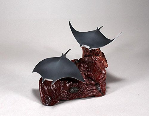 Manta Ray Duo Sculpture New Direct by John Perry Airbrushed Statue 10in Long ()