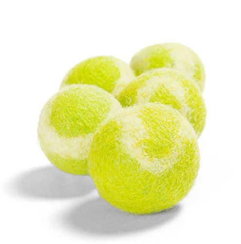 Twin Critters TennisWools – All Natural Cat Toys and Tennis Balls for Small Dogs – 5 Pack – 100% Merino Wool