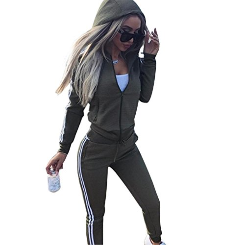 (Cutecc Casual 2 Pieces Athletic Outfits Zip up Hooded Jacket and Long Sweatpants Sportswear Tracksuit Set (L/US 12) Green)