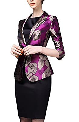 Allbebe Women's Luxury Lapel Leisure Floral Printed Suit Blazer with 3/4 Sleeve
