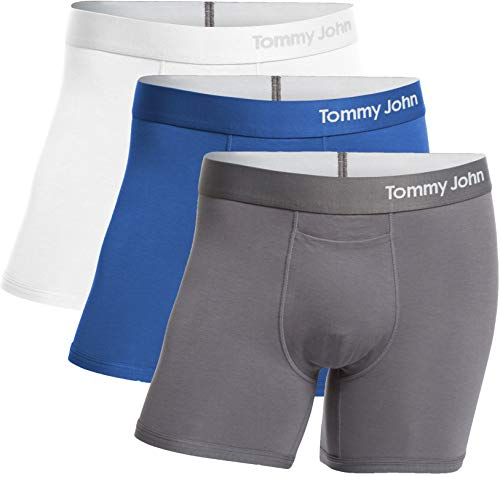 Tommy John Men's Cool Cotton Trunks - 3 Pack - Comfortable Breathable Soft Underwear for Men (White/TJ Blue/Iron Grey, Large) ()