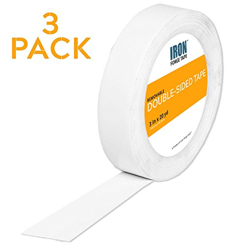 Removable Double Sided Tape Three Pack - 3 Inch x 20 Yards Two Sided Removable Mounting Tape by Iron Forge Tools