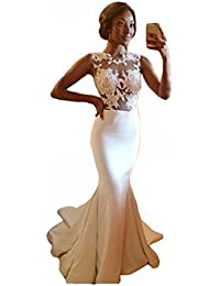 Women's White Lace Appliques Ruffles Floor Length Evening Gown for Wedding
