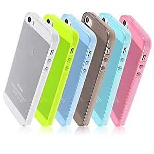 Candy Color TPU Transparent Soft Back Case for iPhone 5/5S (Assorted Colors) , Blue