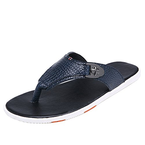 H&W Mens Beach Outdoor Leather Flip Flops With Crocodile Pattern Blue idWgw6WdVu
