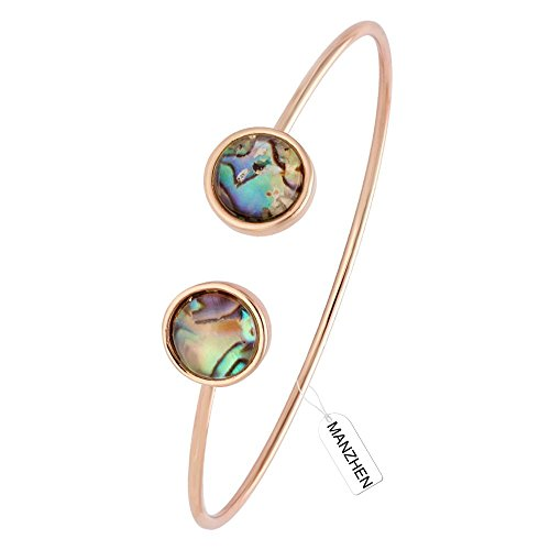 MANZHEN Simple Transparent Abalone Shell Double Cuff Wire Bangle Bracelet Jewelry Gift for Women (Rose Gold)