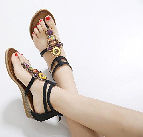 Shoes Neri Open Spiaggia Donna Sandali Strass Con Da Zamme Toe wYz1Uv