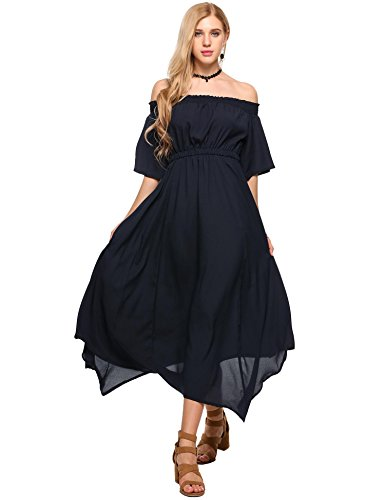 Elesol Women's Cute Summer Off Shoulder Empire Waist Asymmetrical Hem Maxi Sundress Black XL