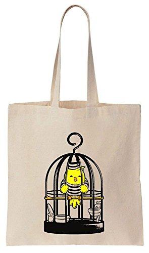 Sad Bird Sits In Jail Sacchetto di cotone tela di canapa