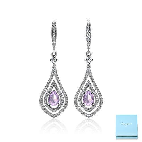 Pink CZ Dangle Earrings for Wedding - Sterling Silver Bridal Teardrop Earring Pear Shape Pink Cubic Zirconia Crystal Rhinestone CZ Fish Hoop Earrings for Wedding Party Prom Fashion Jewelry for ()