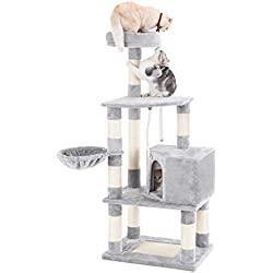 "SONGMICS 58"" Multi-Level Cat Tree with Sisal-Covered Scratcher, Scratching Posts, Plush Perches, Basket and Condo,Cat Tower Furniture - for Kittens, Cats and Pets UPCT60H"