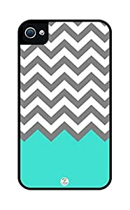 iZERCASE Chevron Pattern Turquoise White Gray Rugged Premium iphone 5 / iPhone 5S case - Fits iphone 5, iPhone 5S T-Mobile, AT&T, Verizon, Sprint and International (Black)