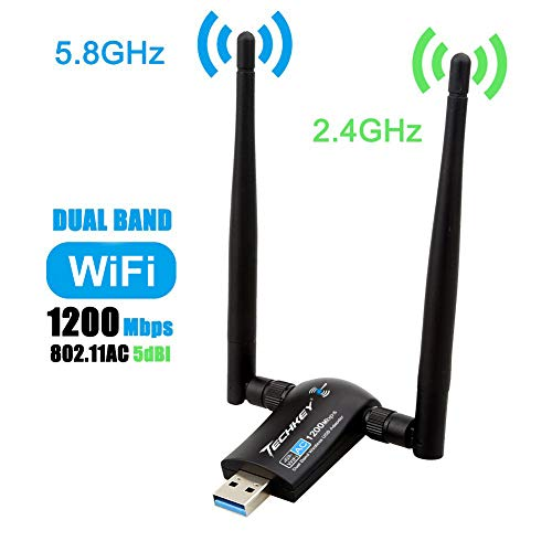 Wireless USB WiFi Adapter, Techkey 1200Mbps Dual Band 2.4GHz/300Mbps 5GHz/867Mbps High Gain Dual 5dBi Antennas Network WiFi USB 3.0 For Desktop Laptop with Windows 10/8/7/XP, Mac OS X